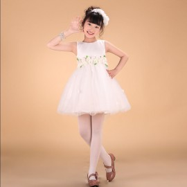 New girls formal dress 2014 summer champagne rose Flower vest princess dress flower girls wedding dress children's tutu dress 1-14Y wedding dress children clothing princess dress