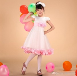 New flower girls wedding dress 2014 summer pink flower formal dress girls princess dress children's performing dress kids dancewear 1-14Y wedding dress children clothing princess dress