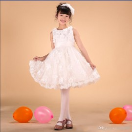 New girls formal dress 2014 summer white sequins lace princess dresses flower girls dress for wedding ball gown kids dancewear 1-14Y wedding dress children clothing princess dress