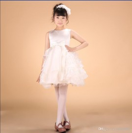 New girls wedding dresses 2014 summer white lace bowknot vest formal dress ball gown princess dress flower girl dress kids dancewear 1-14Y wedding dress children clothing princess dress