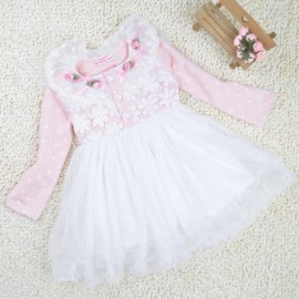 [ Children ] in spring and autumn horizon wave point lace long-sleeved princess dress a lady from the grant kids clothing girl dress