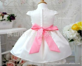 [ Horizon ] Korean version of the popular children bow jumpsuit children dress princess style solid round neck lady dress kids clothing girl dress