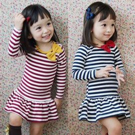 [ Horizon ] 14 spring and autumn children new Korean long-sleeved navy striped dress children dress kids clothing girl dress