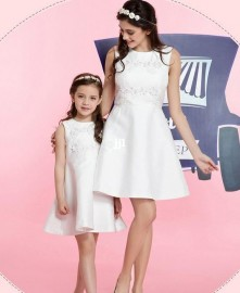 2014 childrens clothing family fashion clothes for mother and daughter embroidery lace sleeveless dress set Dresses mother and daughter sleeveless dress set