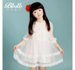 Female child 2014 spring one-piece dress long-sleeve white lace prince …