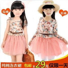 Childrens clothing 2014 female child long-sleeve pleated princess dress female child one-piece dress gauze princess dress child Dresses Cheap Dresses China Dresses Suppliers