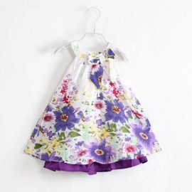2014 New brand designer girl dress fashion kids clothes comfortable summer cotton bow flower children clothing Dresses Cheap Dresses 2014 New brand designer g