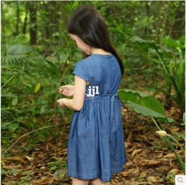 Fashion RetailWholesale Cotton Girl Summer Jean Dress 2014 New Girl Summer Dress Children Casual Clothes A413 Dresses Cheap Dresses Fashion Retail Wholesale
