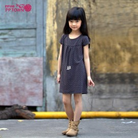 Free Shipping Children's Clothing 2014 Child Spring New Arrival Female Child Back Zipper Short-sleeve Dress Dresses Cheap Dresses China Dresses Suppliers