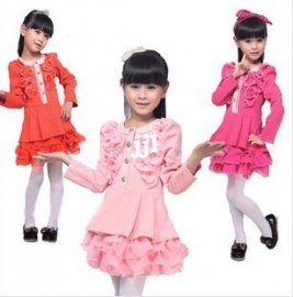 Free Shipping 2014 Children's Spring Clothing Female Child one-Piece Dress Long-Sleeve Spring Roll Princess Dress child Dresses Cheap Dresses China Dresses Suppliers
