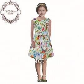 2014 new girl's European and USA style dress girl, abstract floral print baby girls dresses kids dress 2-12Y , children clothing Dresses Cheap Dresses 2014 new girl s European