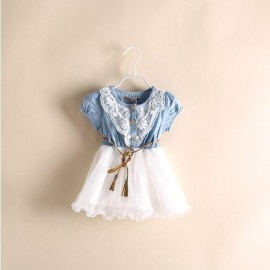 Hu sunshine Retail 2014 New summer girl short sleeved patchwork denim dress baby  kids lace Dress girls dress children Clothingfree shippin Dresses Cheap Dresses China Dresses Suppliers