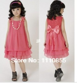 Free Shipping 2014 Summer Chiffon Lace Lovely Bow Casual Sleeveless Princess Baby Girl Children's Dresses Clothing Pink/Red Dresses Cheap Dresses Free Shipping 2014 Summer