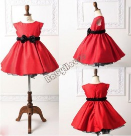 2014 New Spring Elegant Baby Girls Clothes Kids Bowknot Children Cotton Party Formal Princess Dress Rose Red/Red 1-5 years 20087 Dresses Cheap Dresses 2014 New Spring Elegant B