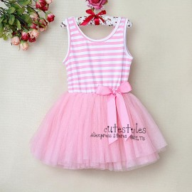 2014 New Fashion Kids Baby Girls Dress Pink Striped With Bow Flower Party Tutu Dresses Children Clothing For Summer Wear children dress clothing children s dress clothing children clothings