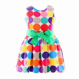 Retail 1pc New 2014 summer kids girls dresses Rainbow dots girl print dress brand 100% cotton princess dress children's clothing Dresses Cheap Dresses China Dresses Suppliers