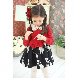 New 2014 fashion girl dress long sleeve, black/red , lace, dresses for girls Wu Children Clothing Free Shipping Dresses Cheap Dresses New 2014 fashion girl dre