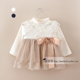 NEW Arrival Baby Dress 2014 Autumn Children's Clothing Idea Baby Long-sleeve Dress Female Child Baby Gold Lace Dress Clothing clothing tube clothing packaging dress babydoll