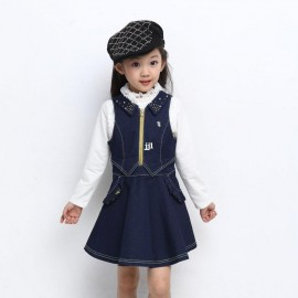 spring 2014 new children  kids clothes lace long-sleeved T-shirt +denim vest girl dress 2 pieces girls party casual clothing Dresses Cheap Dresses spring 2014 new children
