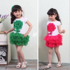 BB030 Free Shipping 2014 New Girls Dress Pink And Rose RED 2 Colors Dancing Party Children Dress Kids Summer Clothing retail Dresses Cheap Dresses BB030 Free Shipping 2014