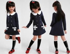 New 2014 spring autumn Korean Style Fashion Button, Long Sleeve Girl Dress Princess, Kids Casual Clothing, Child Clothes Red 5408 Dresses Cheap Dresses New 2014 spring autumn Ko