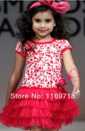 2014 new arrive baby girls cartoon dress dot dress red color with flower children clothes 90-130 in stock Dresses Cheap Dresses 2014 new arrive baby girl