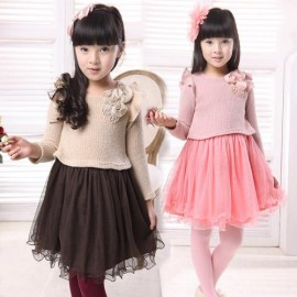 Free Shipping 2014 New Hot Selling Sweater One-piece Yarn Princess Dress For Girls in Autumn And Spring Lace Sweet Dress girl dress sandals girls dresses 7 16 girls formal party dress