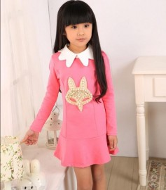 New 2014 Spring Autumn Korean Style Fashion Beading Long Sleeve Girl Dress Princess, Kids Casual Clothing, Children Clothes, 5401 Dresses Cheap Dresses New 2014 Spring Autumn Ko