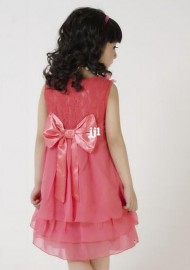 new 2014 summer fashion bow, chiffon, girl dress princess (Have a necklace) kids Condole belt clothing, child clothes pink red 5402 Dresses Cheap Dresses new 2014 summer fashion b