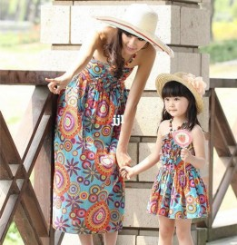 2014 Hot-selling Girls Dress Clothes for Mother and Dughter Summer Bohemia One-piece Dress Beach Dress Fashion Free Shipping Dresses Cheap Dresses China Dresses Suppliers