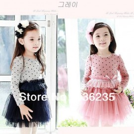 2014 Spring Autumn new fashion 100% cotton dot children's clothing kids princess girls tulle one-piece dresses free shipping cotton smock dress cotton candy floss sugar cotton pad