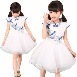 2014 new china blue and white porcelain princess dress child chinese style dress children clothing dance Kids clothes Dresses Cheap Dresses 2014 new china blue and w