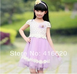 Free Shipping_2014 Summer Girls Princess Chiffon Flowers Dress Thickness Cotton Clothing Set_Wholesale and Retail_Fast shipping Dresses Cheap Dresses Free Shipping 2014 Summer