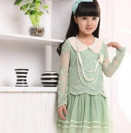2014 New autumn Kids Toddlers Girls dress Pearl Lace Cotton Long Sleeve Dress girl clothing 5-9Y K83 Dresses Cheap Dresses 2014 New autumn Kids Todd