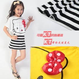 New 2014 free shipping girl hello kitty t-shirt+ striped dress clothing set for kids and children with bow and character/H41 Dresses Cheap Dresses New 2014 free shipping gi