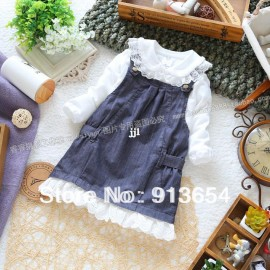 Free shipping Retail new 2014 spring autumn baby clothing girls denim dress baby suspender princess dress girl all-match dresses Dresses Cheap Dresses China Dresses Suppliers
