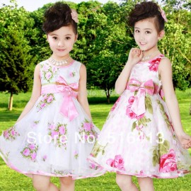 Free shipping Children's clothing summer 2014 expansion bottom yarn flower girls dress princess kids tulle formal dress 3-13 age child princess dress child formal dress children s formal dress