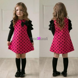 2014 New Autumn /Spring Children Clothing Girls Polka Dot Long-Sleeve Kids Clothes Girls Princess Dress #005 18996free shipping Dresses Cheap Dresses 2014 New Autumn Spring C