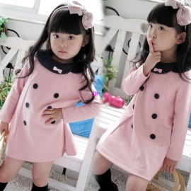 2014 new girls pink cotton double-breasted dresses Spring wear costume baby kids ouertwear clothing children princess bow dressfree shipping Dresses Cheap Dresses China Dresses Suppliers