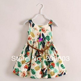 6pieces/lot , 2014 Summer Bird and Leaves Girls Belt Dress Children Clothing, C-BWS0036free shipping Dresses Cheap Dresses 6pieces lot