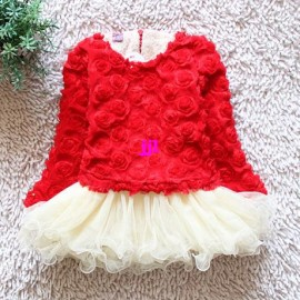 Winter clothing new 2014 winter dress rose girl dress long thicken sleeves cotton baby girls dress ball gown dressfree shipping Dresses Cheap Dresses Winter clothing new 2014