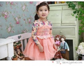 New 2014 baby girls printed flower dresses children clothing for autumn -summer kids tutu dress 2colors high quality A87free shipping baby clothing girls children clothings baby dress girl