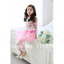 2014 Spring NEW Arrival Children Kids Girls Long Sleeve Printing Dresses Korean Baby Lace Dress Princess Party Fashion Clothingfree shipping Dresses Cheap Dresses 2014 Spring NEW Arrival C