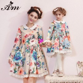 Wholesale 2014 New Winter-Spring Mother and daughter Vintage Lace dresses Baby Girls princess clothing children retro dressesfree shipping Dresses Cheap Dresses Wholesale 2014 New Winter
