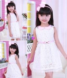 2014 New Summer White Girl Lovely child one-piece dress child gentlewomen embroidery lace princess dress childrens clothingfree shipping Dresses Cheap Dresses 2014 New Summer White Gir