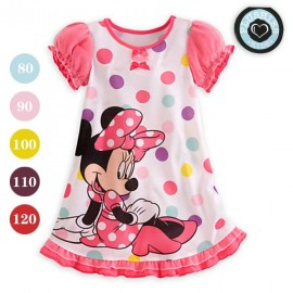 April 2014 New Arrival Childrens clothing Summer Girls Pink Minnie Mouse dot short sleeve dress 5 pcs/lotfree shipping Dresses Cheap Dresses April 2014 New Arrival Ch