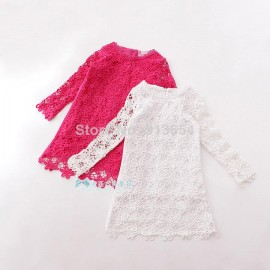 new 2014 spring autumn girl dress baby & kids clothes girls Long sleeved lace dress child openwork flowers princess dressesfree shipping Dresses Cheap Dresses new 2014 spring autumn gi