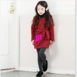 Retail 2014 New Spring/Autumn children clothing, girls national trend red dress, bow belt kids clothes, 2-10Y child, high qualityfree shipping Dresses Cheap Dresses Retail 2014 New Spring Au