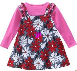 New 2014 Girl Baby casual dress Flower long-sleeve fashion kids clothing spring and autumn children dress FREE SHIPPINGfree shipping jacket leather jackets women leather jacket black leather