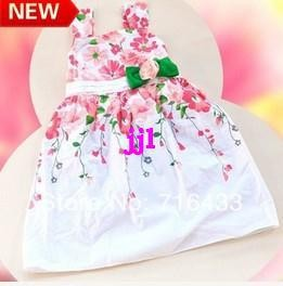 F00068 girls dresses new fashion 2014 summer baby dress baby girl clothes kids flowers cotton dress girls clothes retailfree shipping Dresses Cheap Dresses F00068 girls dresses new